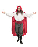 Handsome man in historical pirate costume and cloak isolated Royalty Free Stock Photos