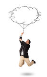 Handsome man holding cloud balloon drawing Royalty Free Stock Images
