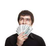 Handsome man holding dollars Royalty Free Stock Photo