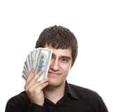 Handsome man holding dollars Royalty Free Stock Photos