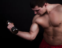 Handsome man holding dumbbells Royalty Free Stock Images