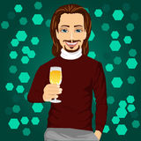 Handsome man holding a glass of champagne at the night club party Royalty Free Stock Photography