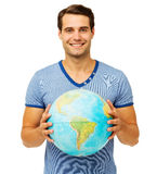 Handsome Man Holding Globe Royalty Free Stock Images