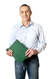 Handsome man holding his calendar Stock Photos