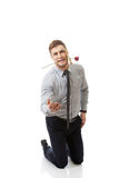 Handsome man holding red rose in his mouth. Stock Image