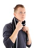 Handsome man holding scarf Stock Image