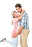 Handsome man hugging his girlfriend Stock Photography