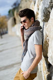 Handsome Man In Urban Background Talking On Phone Stock Photography