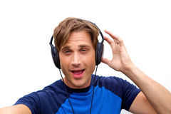 Handsome man jamming out Stock Photo