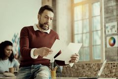 Handsome man in jeans comparing two documents stock photo