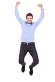 Handsome man jumping. With vigor on white background Stock Photo