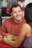 Handsome Man with Lady in Cafe Royalty Free Stock Image