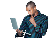 Handsome man with laptop Stock Photo