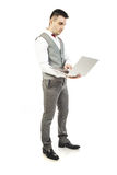 Handsome man and laptop Stock Image