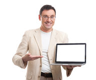 Handsome man with laptop Royalty Free Stock Image