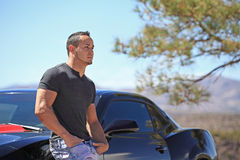 Handsome Man Leaning Against Car Stock Photography
