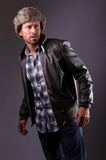 Handsome man in leather jacket Stock Images