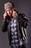 Handsome man in leather jacket Royalty Free Stock Photography