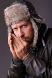 Handsome man in leather jacket Royalty Free Stock Photos