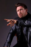 Handsome man in leather jacket Stock Photo
