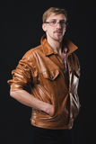 Handsome man in leather jacket Stock Photography