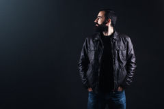 Handsome man in leather jacket. royalty free stock images