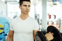 Handsome man lifting weights in gym Stock Images
