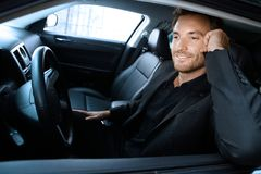 Handsome man in limousine Royalty Free Stock Image