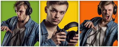 Handsome man listening music on headphone collage. Collage of beautiful young man in headphones playing music. Three pictures over bright green,yellow and orange Royalty Free Stock Photography