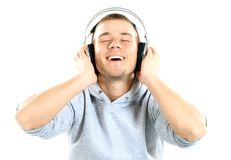 Handsome man listening the music Stock Image