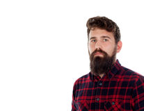 Handsome man with long beard wearing checkered shirt Stock Images