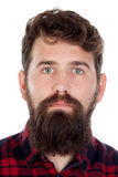 Handsome man with long beard wearing checkered shirt Royalty Free Stock Images
