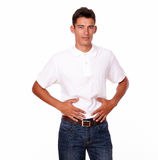 Handsome man looking to people with stomach pain Royalty Free Stock Photography