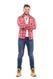 Handsome man in lumberjack shirt Stock Photos