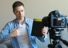 Handsome man making video blog. Royalty Free Stock Photography
