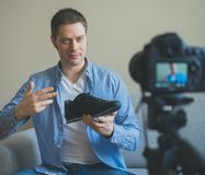 Handsome man making video blog. Royalty Free Stock Photo