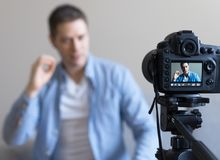 Handsome man making video blog. Royalty Free Stock Photos