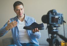 Handsome man making video blog. Stock Photography