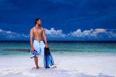 Handsome Man at Maldives Royalty Free Stock Image