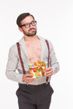 Handsome man with many kisses holding present Stock Image