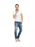 Handsome man with megaphone Stock Photos