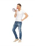 Handsome man with megaphone Royalty Free Stock Image