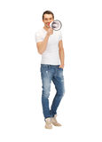 Handsome man with megaphone Royalty Free Stock Photography