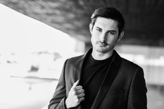 Handsome man, model of fashion, wearing modern suit. Stock Photo