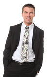 Handsome Man with Money Tie Royalty Free Stock Photo