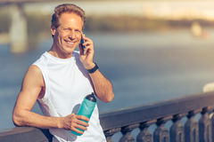 Handsome man during morning run Royalty Free Stock Images