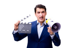 The handsome man with movie clapper isolated on white Stock Photo