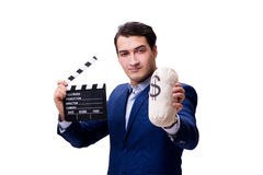 The handsome man with movie clapper isolated on white Stock Photography