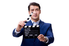 The handsome man with movie clapper isolated on white Stock Images