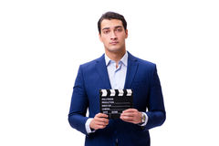 The handsome man with movie clapper isolated on white Royalty Free Stock Photos